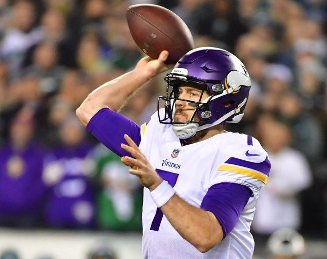 Minnesota Vikings quarterback Case Keenum has been traded to the Denver Broncos. Photo by Kevin Dietsch/UPI