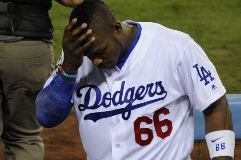 Los Angeles Dodgers slugger Yasiel Puig (66). File photo by Lori Shepler/UPI