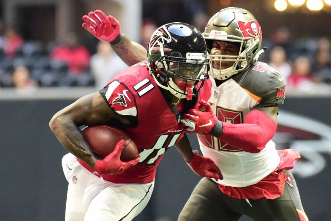 Former Atlanta Falcons wide receiver Julio Jones (11), shown Oct. 14, 2018, was traded to the Tennessee Titans for multiple draft picks. File Photo by David Tulis/UPI
