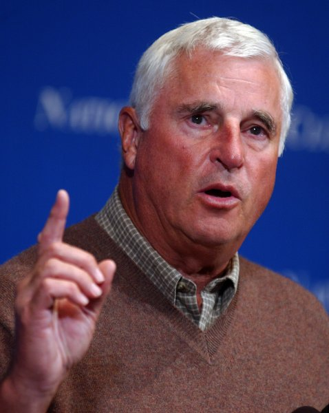 Texas Tech University basketball coach Bobby Knight speaks to those gathered at the National Press Club in Washington on September 27, 2004. Knight discussed the current state of College Basketball, the NBA and the U.S. Olympic team's performance in the 2004 games...(UPI Photo/Michael Kleinfeld)..