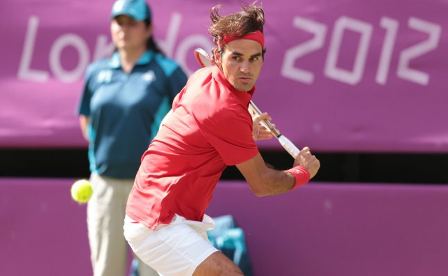 Roger Federer, shown during the 2012 Olympics, on Thursday defeated David Ferrer and is unbeaten in group play at the Barclays ATP World Tour Finals. UPI/Hugo Philpott