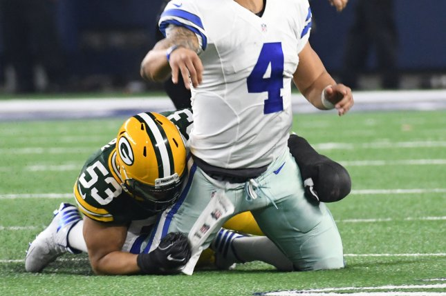 Green Bay Packers Nick Perry brings down Dallas Cowboys Dak Precott in the fourth quarter of the NFC divisional playoff game on January 15, 2017. The Packers will need serious help with the pass rush if Perry cannot be resigned. Photo by Ian Halperin/UPI
