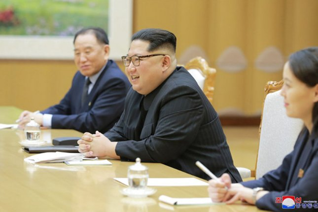This image released on Monday by the North Korean Official News Service (KCNA), shows North Korean leader Kim Jong Un meeting with South Korean officials in Pyongyang, North Korea. Photo by KCNA/UPI