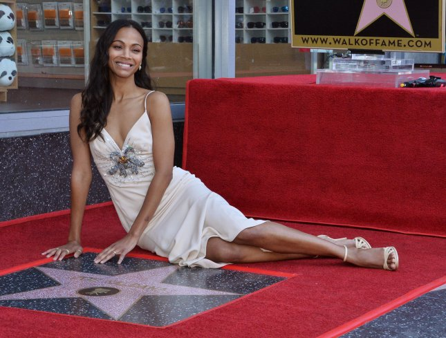 Actress Zoe Saldana was honored with the 2,637th star on the Hollywood Walk of Fame Thursday. Photo by Jim Ruymen/UPI