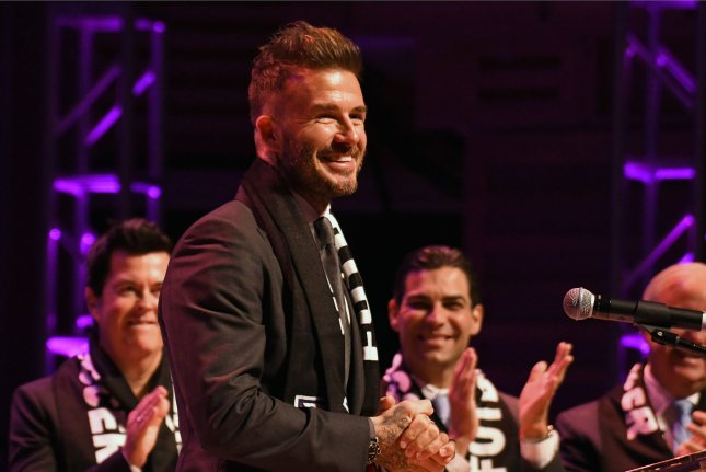 David Beckham talks to MLS fans and media after the official launch of the Miami Major League Soccer team during a press conference on January 29 at the Adrienne Arsht Center in Miami, Fla. Photo by Gary I Rothstein/UPI.
