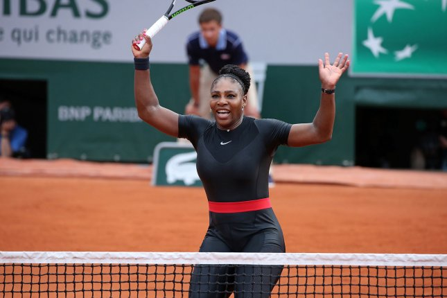 American Serena Williams reacts after a shot during her French Open women's first round match against Kristyna Pliskova of the Czech Republic Tuesday at Roland Garros in Paris. Williams defeated Pliskova 7-6 (4), 6-4 to advance to the second round. Photo by David Silpa/UPI