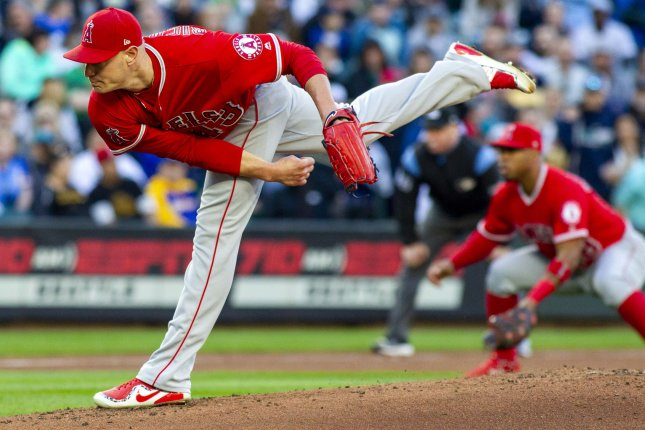 Los Angeles Angels' starter Garrett Richards pitches against the Seattle Mariners in the fifth inning on May 4 at Safeco Field in Seattle. Photo by Jim Bryant/UPI
