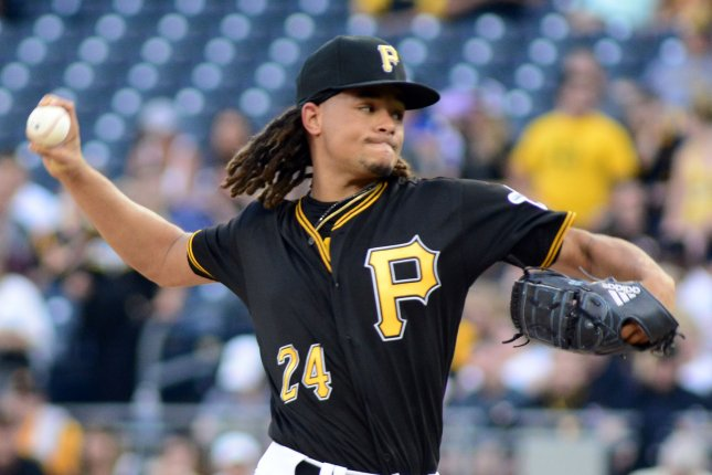Pittsburgh Pirates right-handed pitcher Chris Archer (24) starts throwing in the first inning against the St. Louis Cardinals on August 3, 2018 at PNC Park in Pittsburgh. Photo by Archie Carpenter/UPI