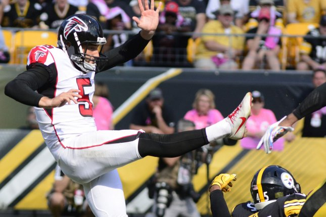 Atlanta Falcons punter Matt Bosher (5) kicks the ball away in the third quarter on October 7, 2018 at Heinz Field in Pittsburgh. Photo by Archie Carpenter/UPI