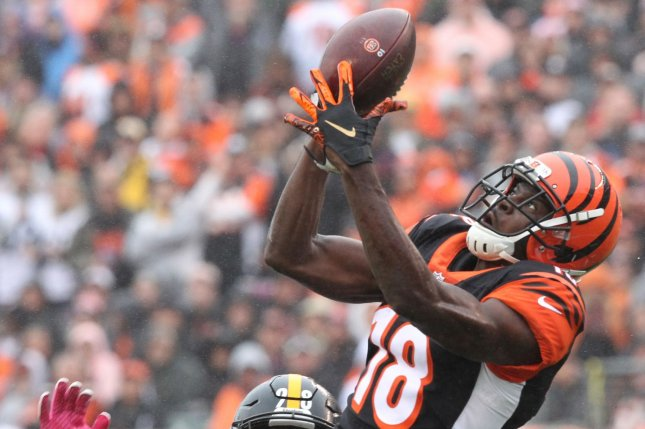 Cincinnati Bengals wide receiver A.J. Green missed seven games due to injury during his 2018 campaign. File Photo by John Sommers II/UPI