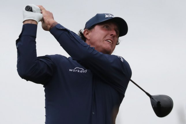 Phil Mickelson drives on the 17th tee on the second day of the Open Championship at Royal Portrush on July 19. The golfer turns 50 on June 16. File Photo by Hugo Philpott/UPI