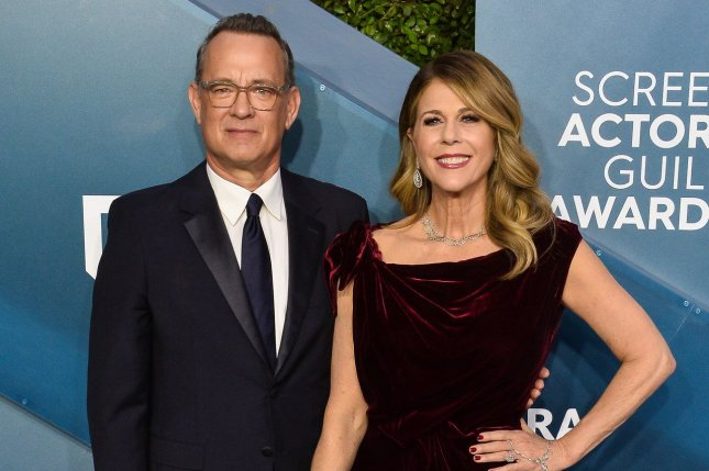 Tom Hanks (L), pictured with Rita Wilson, will restart production on Elvis in Australia, six months after testing positive for COVID-19. File Photo by Jim Ruymen/UPI