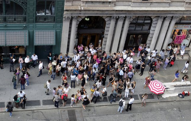 People evacuate buildings on Broadway in New York City after a magnitude 5.9 earthquake strikes states on the east coast of the United States on August 23, 2011. UPI/John Angelillo