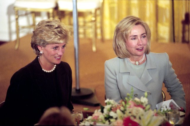 Princess Diana (L) with Hillary Clinton at the White House Sept. 24, 1996.(UPI Photo/Files)