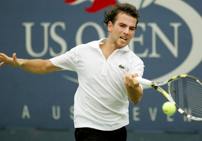 Adrian Mannarino, shown in a 2010 file photo, posted a first-round upset Monday of top-seeded Gilles Simon at the St. Petersburg Open in Russia. UPI Photo/Monika Graff...