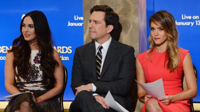 Actors Megan Fox, Ed Helms, and Jessica Alba (L-R) wait onstage before announcing the 70th annual Golden Globes Awards nominations at the Beverly Hilton Hotel in Beverly Hills, California on December 13, 2012. UPI/Jim Ruymen