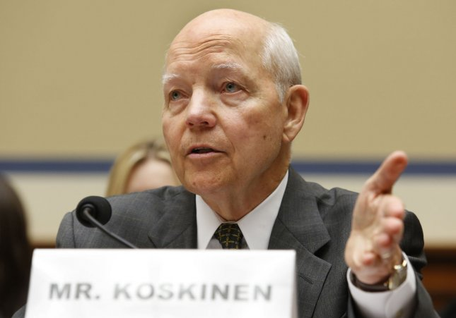 Several Republican members of a House committee called for the impeachment of Internal Revenue Service Commissioner John Koskinen, shown here testifying before the House Oversight and Government Reform Committee in 2014. File Photo by Yuri Gripas/UPI