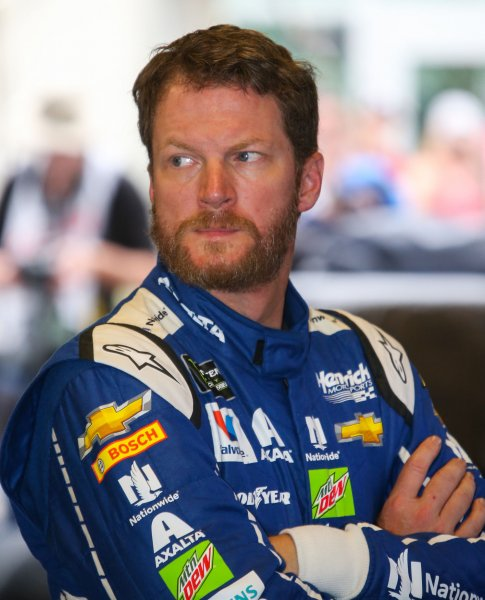 Dale Earnhardt Jr awaits qualifying for the 2017 Brickyard 400 in July. Photo by Mike Gentry/UPI