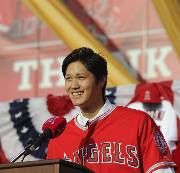 Los Angeles Angels pitcher Shohei Ohtani speaks with reporters during an introductory press conference earlier this month. Photo by Lori Shepler/UPI.