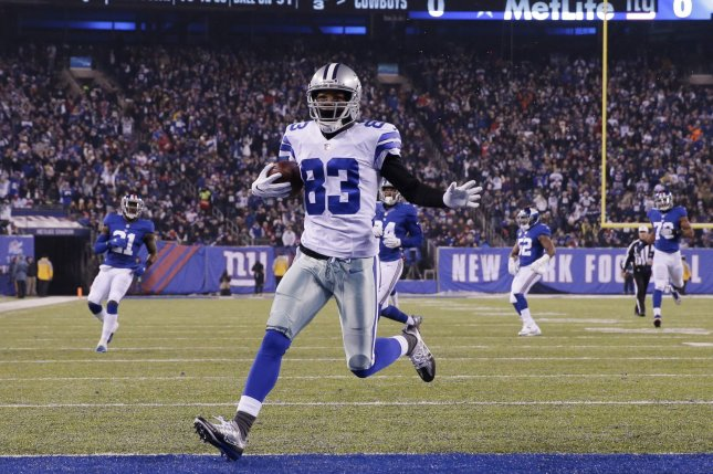Dallas Cowboys wide receiver Terrance Williams (83) celebrates after catching a 31-yard touchdown pass in the first half against the New York Giants in Week 14 of the NFL season on December 11, 2016 at MetLife Stadium in East Rutherford, New Jersey. File photo by John Angelillo/UPI