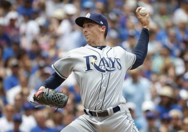 Blake Snell and the Tampa Bay Rays take on the Texas Rangers on Tuesday. Photo by Kamil Krzaczynski/UPI