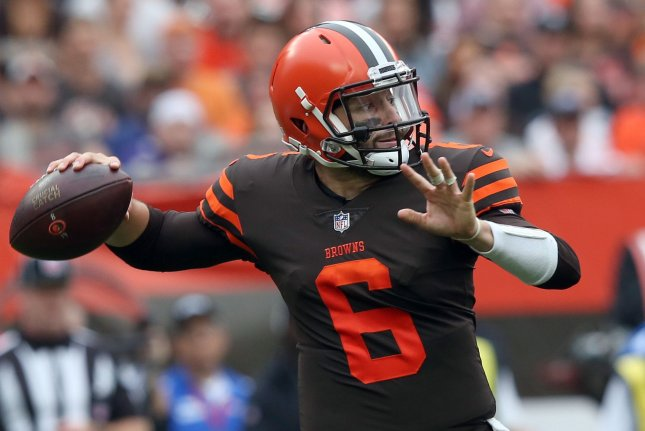 Baker Mayfield and the Cleveland Browns take on the Los Angeles Chargers on Sunday. Photo by Aaron Josefczyk/UPI