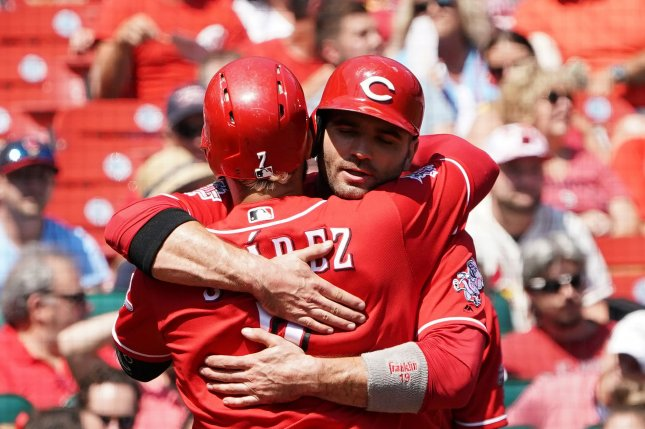 Joey Votto (R) and the Cincinnati Reds could have a better chance to reach the playoffs this year after MLB imposed a shortened 60-game season due to the coronavirus pandemic. File Photo by Bill Greenblatt/UPI