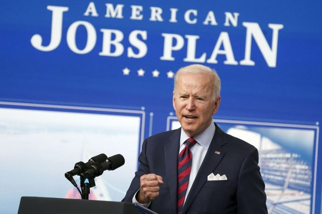 President Joe Biden delivers remarks on the investments in the American Jobs Plan in the South Court Auditorium in Washington, D.C., on Wednesday. Photo by Leigh Vogel/UPI