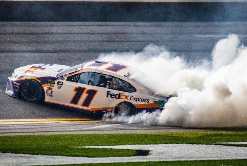 Denny Hamlin is the favorite to win the 2021 Geico 500 Saturday at Talladega Superspeedway in Talladega, Ala. File Photo by Edwin Locke/UPI