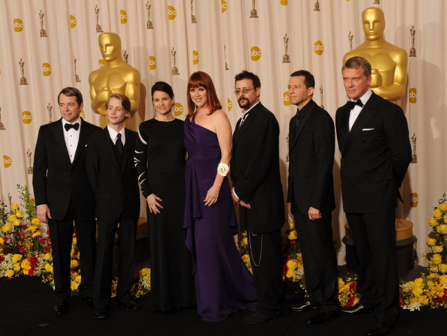 (L to R) Matthew Broderick, Macaulay Culkin, Ally Sheedy, Molly Ringwald, Judd Nelson, Jon Cryer and Anthony Michael Hall appear backstage at the 82nd Academy Awards in Hollywood on March 7, 2010. The actors, all of whom starred in Brat Pack movies, participated in a tribute to director John Hughes. UPI/Jim Ruymen