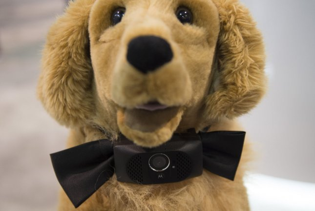 The Scout 5000, by Motorola, an interactive wearable camera and gps tracker for dogs, is displayed at the 2015 International CES, a trade show of consumer electronics, in Las Vegas, Nevada, January 8, 2015. Photo by Molly Riley/UPI