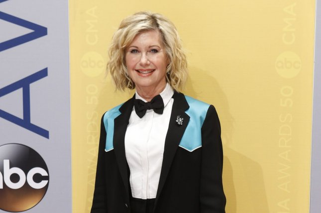 Olivia Newton-John arrives at the 2016 Country Music Awards in Nashville on November 2, 2016.The singer and actress is to appear in Sharknado 5: Global Swarming. File Photo by John Sommers II/UPI