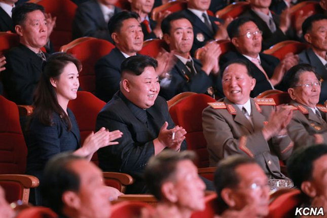 North Korean leader Kim Jong Un, accompanied by his wife, Ri Sol-Ju, hosted a lavish gala at the People's Theatre in Pyongyang on September 10 to celebrate the perfect success in the H-bomb test. Photo courtesy of KCNA/UPI