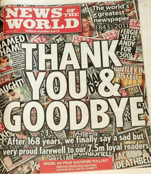 The final edition of the News of the World hits the London news stands with a simple Thank You and Goodbye message on the front, in London on July 10, 2011. Media baron Rupert Murdoch closed the 168-year-old paper after a scandal erupted in regards to tapped telephones. It was the largest United Kingdom newspaper with a circulation of 2.7 million and a readership of 7.5 million. UPI/News International/Yui Mok