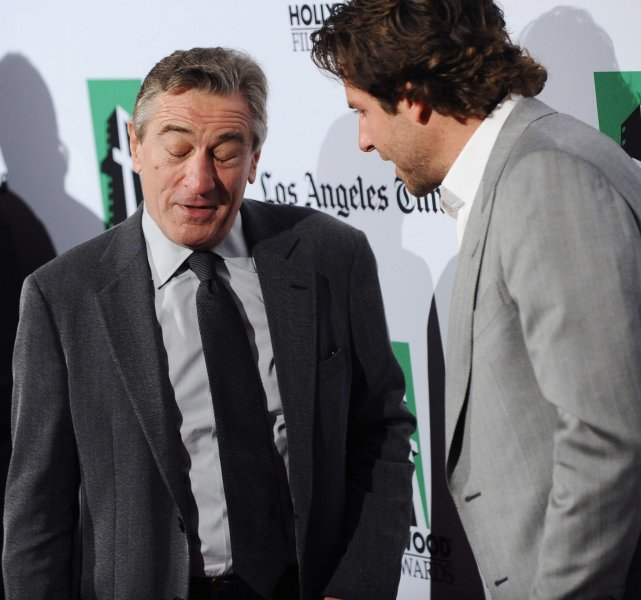 Robert De Niro (L) and Bradley Cooper arrive at the 16th annual Hollywood Film Awards gala presented by the Los Angeles Times and held at the Beverly Hilton Hotel in Beverly Hills, Calif., Oct. 22, 2012. UPI/Jim Ruymen