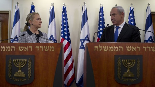 Israel's Prime Minister Benjamin Netanyahu and U.S. Secretary of State Hillary Clinton deliver joint statements at their meeting in Jerusalem November 20, 2012. On arrival, Clinton said, In the days ahead the United States will work with our partners here in Israel and across the region toward an outcome that bolsters security for the people of Israel, improves conditions for the people of Gaza and moves toward a comprehensive peace for all people of the region. UPI/Baz Ratner/Pool