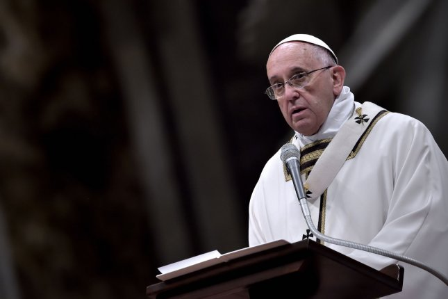 Pope Francis expressed concern with the growth of drug cartels, particularly with the potential for mexicanization of drug trafficking in Argentina, in an email. File photo UPI/Stefano Spaziani