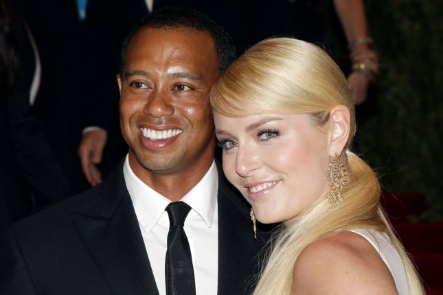 Lindsey Vonn (R) and Tiger Woods at the Costume Institute Benefit at the Metropolitan Museum of Art on May 6, 2013. The couple split in May 2015. File Photo by John Angelillo/UPI