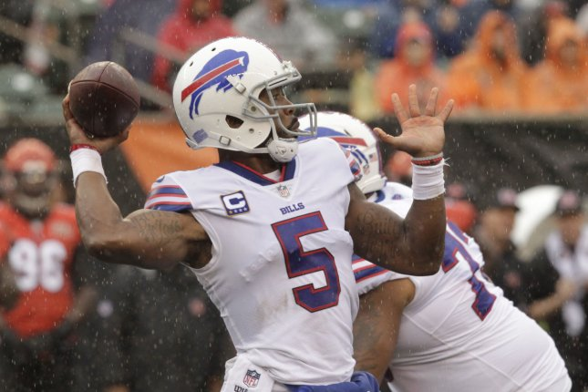 Buffalo Bills quarterback Tyrod Taylor (5) throws under pressure from the Cincinnati Bengals during the first half of play at Paul Brown Stadium in Cincinnati, Ohio, October 8, 2017. File photo by John Sommers II /UPI