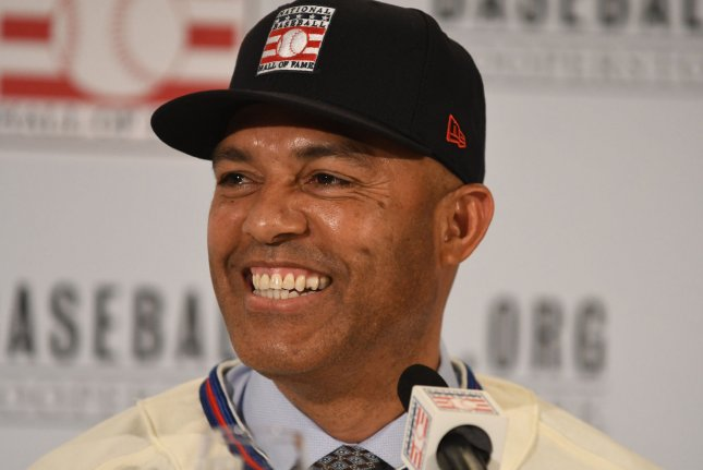 Former New York Yankees closer Mariano Rivera addresses the media at the National Baseball Hall of Fame and Museum class of 2019 press conference on Wednesday at the St. Regis Hotel in New York City. Photo by George Napolitano/UPI