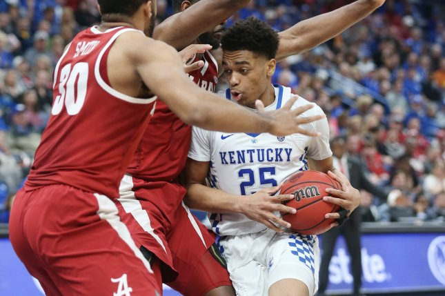 Kentucky Wildcats forward PJ Washington (25) returned to practice for the first time since the SEC tournament and may play against Houston in the Sweet 16. File Photo by Bill Greenblatt/UPI