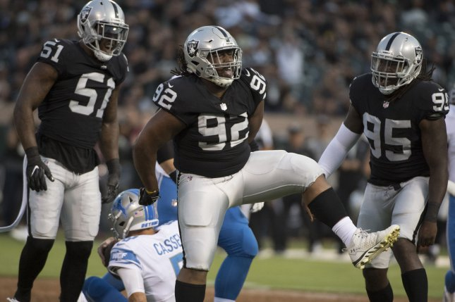 Las Vegas Raiders defensive lineman P.J. Hall (92) has appeared in 30 games and recorded 49 total tackles, 1.5 sacks and two passes defensed over the past two seasons. File Photo by Terry Schmitt/UPI
