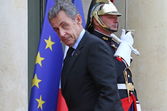 Former French President Nicolas Sarkozy, shown arriving at the Elysee Palace in Paris on September 30, 2019, appeared in court Monday for his long-awaited corruption trial, only to see it delayed again until Thursday. Photo by David Silpa/UPI