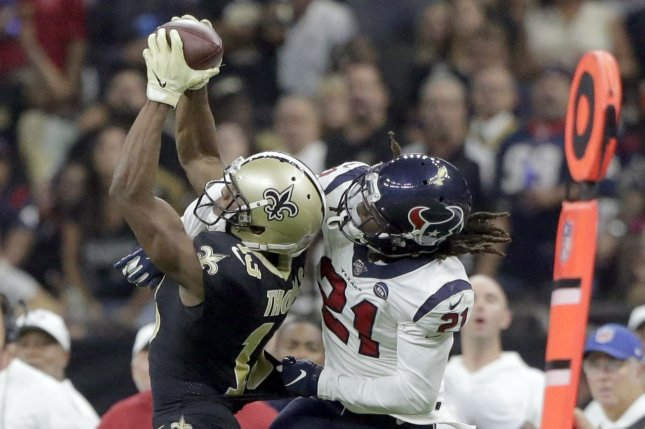 Houston Texans cornerback Bradley Roby (R) will miss the rest of the 2020 season and the first game of next season after he received a six-game suspension from the NFL. File Photo by AJ Sisco/UPI