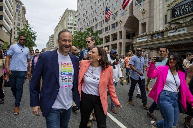 Second Gentleman Doug Emhoff and Vice President Kamala Harris walk in the Capital Pride Celebration in Washington, D.C. on Saturday. Photo by Tasos Katopodis/UPI