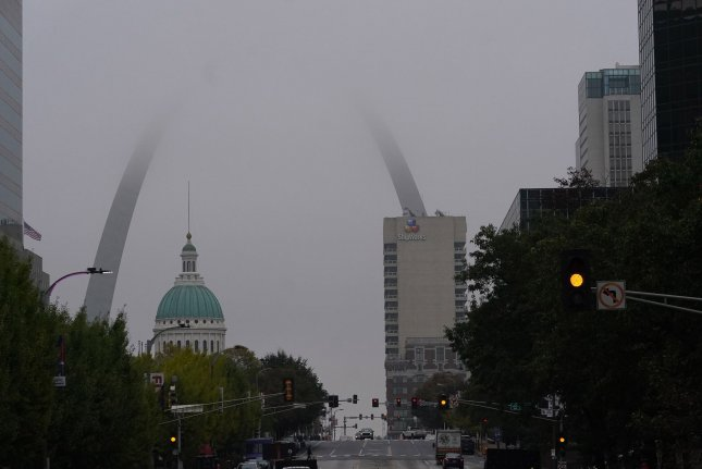 Fog covers the top of the Gateway Arch during a steady rain in downtown St. Louis on October 21, 2020. File Photo by Bill Greenblatt/UPI