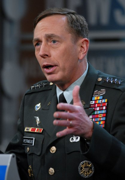 Gen. David Petraeus discusses the war in Iraq with the media during a news conference in the TV studio of the Newseum in Washington on April 10, 2008. (UPI Photo/Roger L. Wollenberg)