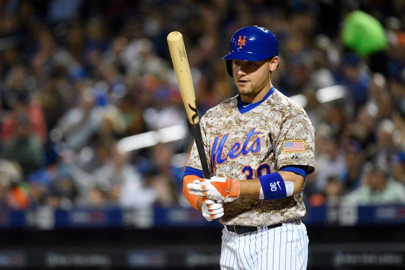 New York Mets left fielder Michael Conforto (30). Photo by Rich Kane/UPI