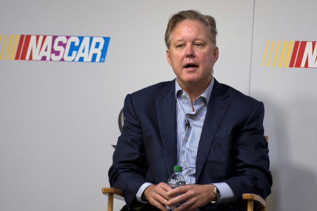 Brian France, NASCAR Chairman & CEO answers questions during a press conference at the Homestead-Miami Speedway in Homestead, Florida on November 14, 2014. UPI/Gary I Rothstein