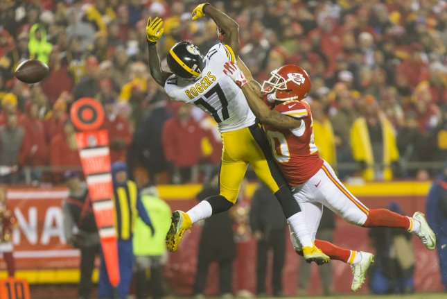 Kansas City Chiefs cornerback Steven Nelson breaks up a pass to Pittsburgh Steelers wide receiver Eli Rogers in the third quarter of the NFL Playoff at Arrowhead Stadium in Kansas City on January 15, 2017. The Steelers defeated the Chiefs 18-16. File photo by Kyle Rivas/UPI